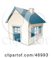 Small White House With Blue Windows Doors And Roof