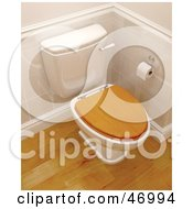 Royalty Free RF Clipart Illustration Of A 3d Toilet With A Wooden Lid In A Bathroom With Wood Floors by KJ Pargeter