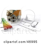 Royalty Free RF Clipart Illustration Of A 3d Model Home With Energy Ratings Blueprints And A Laptop by KJ Pargeter