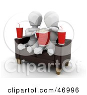 Royalty Free RF Clipart Illustration Of A White Character Couple Watching A Movie And Sharing Popcorn by KJ Pargeter