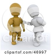 Royalty Free RF Clipart Illustration Of A 3d White Character Touching A Wooden Character