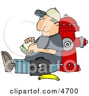 Male Worker Eating His Lunch Outside Against A Fire Extinguisher Clipart