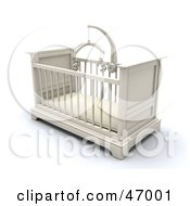 Royalty Free RF Clipart Illustration Of A White Wooden Baby Crib In A Nursery With A Teddy Bear Mobile by KJ Pargeter