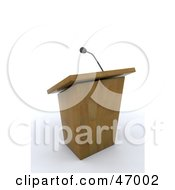 Royalty Free RF Clipart Illustration Of A Deserted Wooden Lectern And Microphone