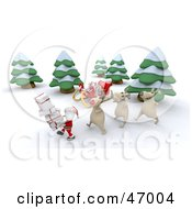 Royalty Free RF Clipart Illustration Of 3d Reindeer Following Behind Santa Claus As He Carries Gifts In The Woods by KJ Pargeter