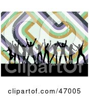 Royalty Free RF Clipart Illustration Of A Background Of Black Silhouetted Dancers With Retro Lines