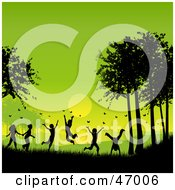 Royalty Free RF Clipart Illustration Of A Group Of Children Playing And Chasing Butterflies Against A Green Summer Sunset by KJ Pargeter #COLLC47006-0055
