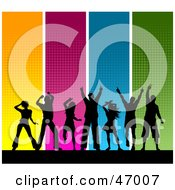Royalty Free RF Clipart Illustration Of A Background Of Black Silhouetted Dancers With Colorful Panels