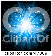 Royalty Free RF Clipart Illustration Of A Bright Blue Snowflake Burst Background by KJ Pargeter