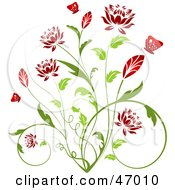 Royalty Free RF Clipart Illustration Of A Beautiful Green Plant With Red Blossoms by KJ Pargeter