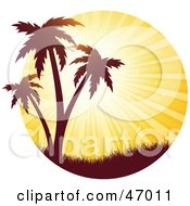 Royalty Free RF Clipart Illustration Of A Bright Orange Sunset Burst Silhouetting Tropical Palm Trees