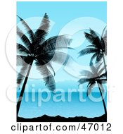 Royalty Free RF Clipart Illustration Of A Tropical Summer Scene Of Blue Waters And Silhouetted Palm Trees