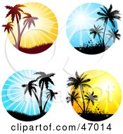 Royalty Free RF Clipart Illustration Of A Digital Collage Of Silhouetted Palm Tree Sunsets