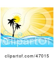 Royalty Free RF Clipart Illustration Of A Summer Burst Behind Silhouetted Palm Trees And Waves by KJ Pargeter