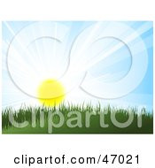 Royalty Free RF Clipart Illustration Of The Summer Sun Shining Over Grass On A Hill by KJ Pargeter