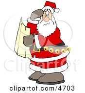 Lost Santa Clause Holding A Map And Looking For Directions Clipart