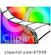 Film Strip Wave On A Rainbow Background