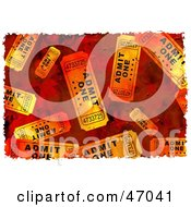 Clipart Illustration Of A Grungy Background Of Orange Tickets