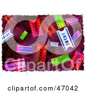Clipart Illustration Of A Grungy Background Of Colorful Tickets