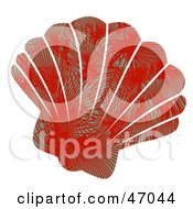 Clipart Illustration Of A Palm Patterned Red Scallop Sea Shell by Prawny