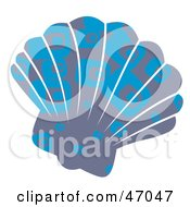 Clipart Illustration Of A Rectangle Patterned Blue Scallop Sea Shell