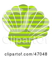 Clipart Illustration Of A Striped Patterned Green Scallop Sea Shell by Prawny