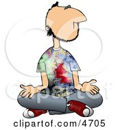 Male Hippie Meditating Clipart