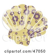 Clipart Illustration Of A Burst Patterned Beige Scallop Sea Shell by Prawny