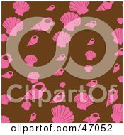 Clipart Illustration Of A Brown Background Of Pink Shells by Prawny