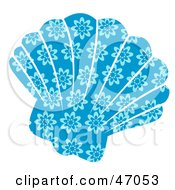 Clipart Illustration Of A Floral Patterned Blue Scallop Sea Shell by Prawny