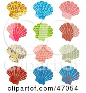 Clipart Illustration Of A Digital Collage Of Colorful Patterned Scallop Sea Shells by Prawny
