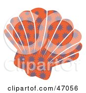 Clipart Illustration Of A Burst Patterned Orange Scallop Sea Shell by Prawny