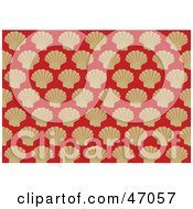 Clipart Illustration Of A Red Background Of Beige Victorian Scallop Shells