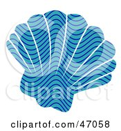 Clipart Illustration Of A Wave Patterned Blue Scallop Sea Shell by Prawny