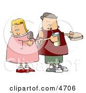 Boy And Girl Eating Food Together