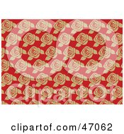 Clipart Illustration Of A Victorian Rose Patterned Background On Red by Prawny