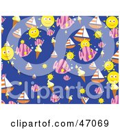 Clipart Illustration Of A Blue Background With Summer Suns Ice Cream Sailboats And Fish