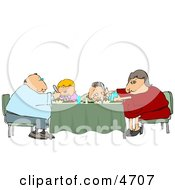 Poster, Art Print Of Family Eating Dinner Meal Together At The Dining Room Table