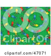 Clipart Illustration Of A Green Background Of Colorful Stag Beetles by Prawny