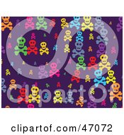 Purple Background Of Colorful Skulls And Crossbones