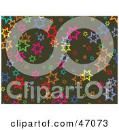 Clipart Illustration Of A Brown Background With Colorful Stars