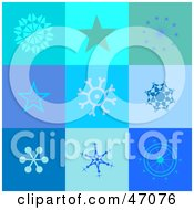 Clipart Illustration Of A Blue Background With Squares Of Stars And Snowflakes