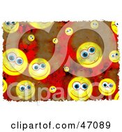 Clipart Illustration Of A Background Of Grungy Happy Faces
