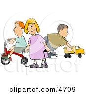 Young Girl And Boys Playing With Toys Clipart