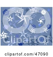 Clipart Illustration Of A Blue Grunge Background Of Snowflake Stars