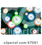 Clipart Illustration Of A Grungy Background Of Colorful Clocks