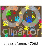 Clipart Illustration Of A Brown Background Of Colorful Paw Prints