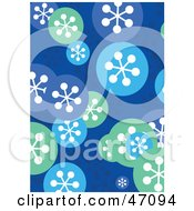 Clipart Illustration Of A Funky Blue Background With Snowflake Circles