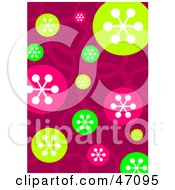 Clipart Illustration Of A Funky Pink Background With Colorful Retro Circles