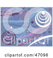 Clipart Illustration Of A Funky Purple White And Blue Retro Circle And Wave Background